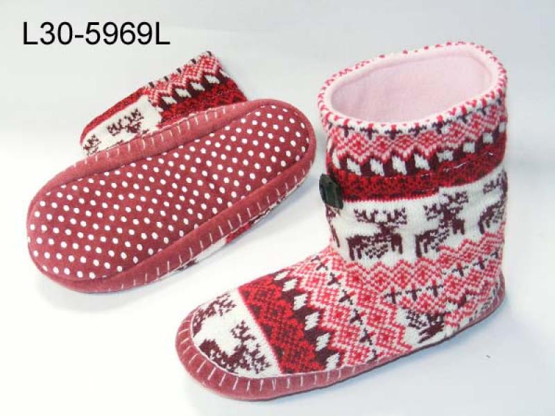 Knitted fabric upper boot slipper