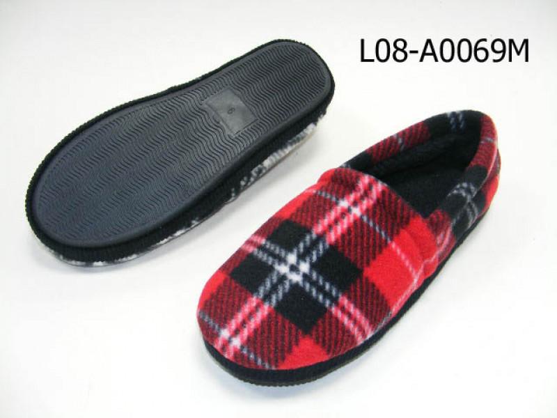 Men plaid plush upper close back slipper